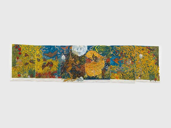 Marcel Dzama, We dance like the fire on the bones of the liars and let truth rise from the ash (or Moon dance), 2021. David Zwirner.
