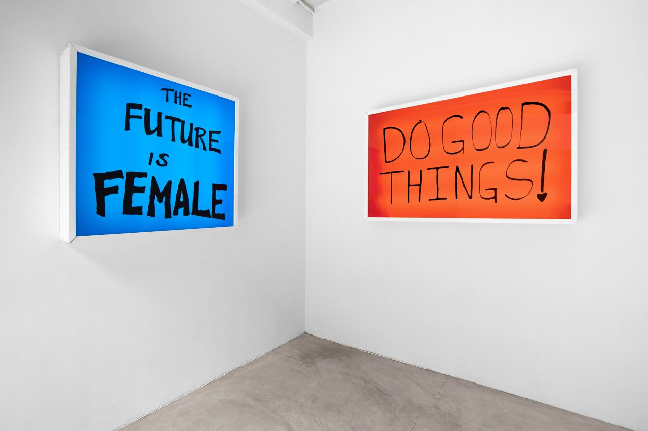 Sam Durant, The Future Is Female, 2018; Do Good Things!, 2018,