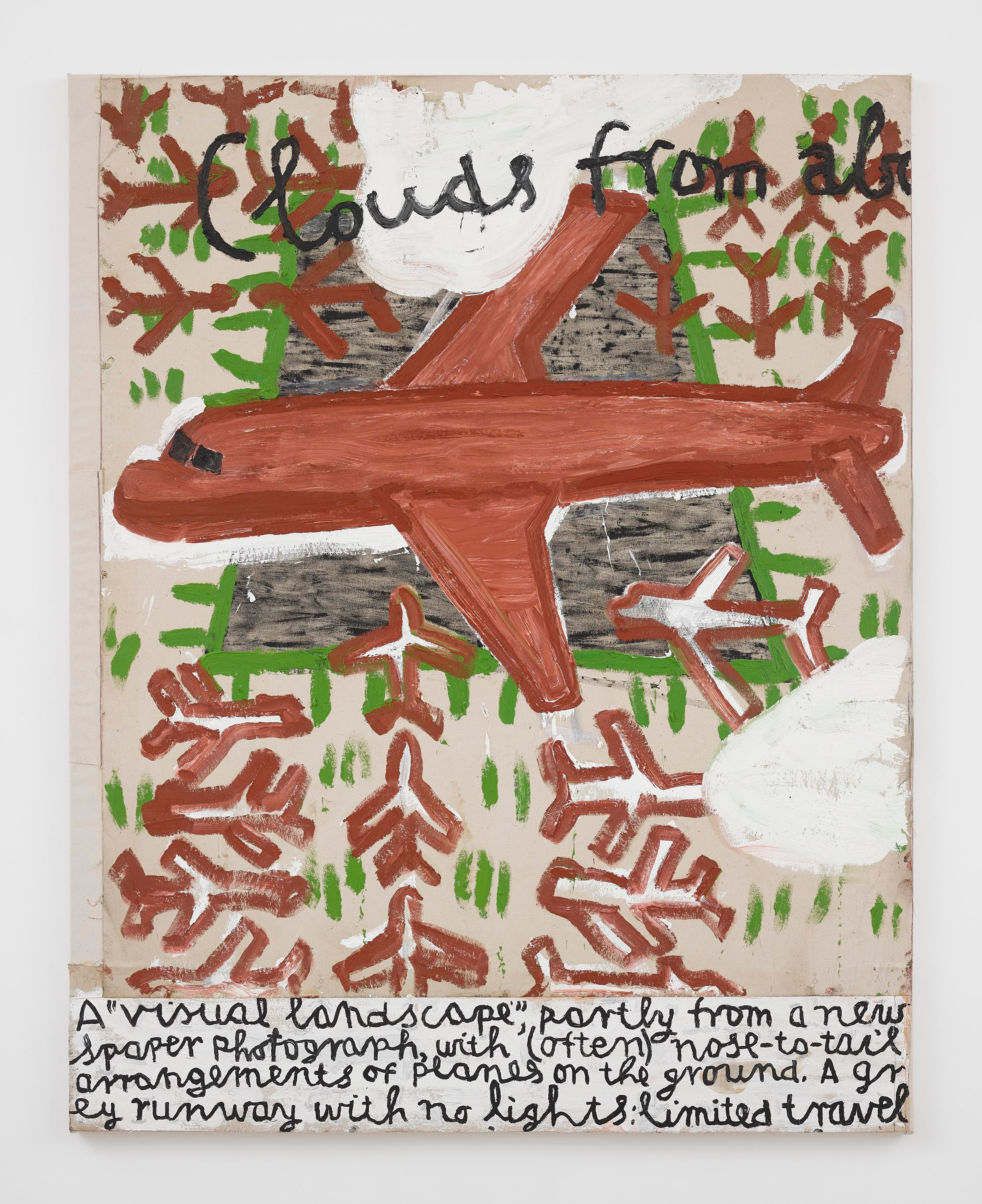 Rose Wylie, Red Plane and Runway, homage to Retablos painting, 2020.