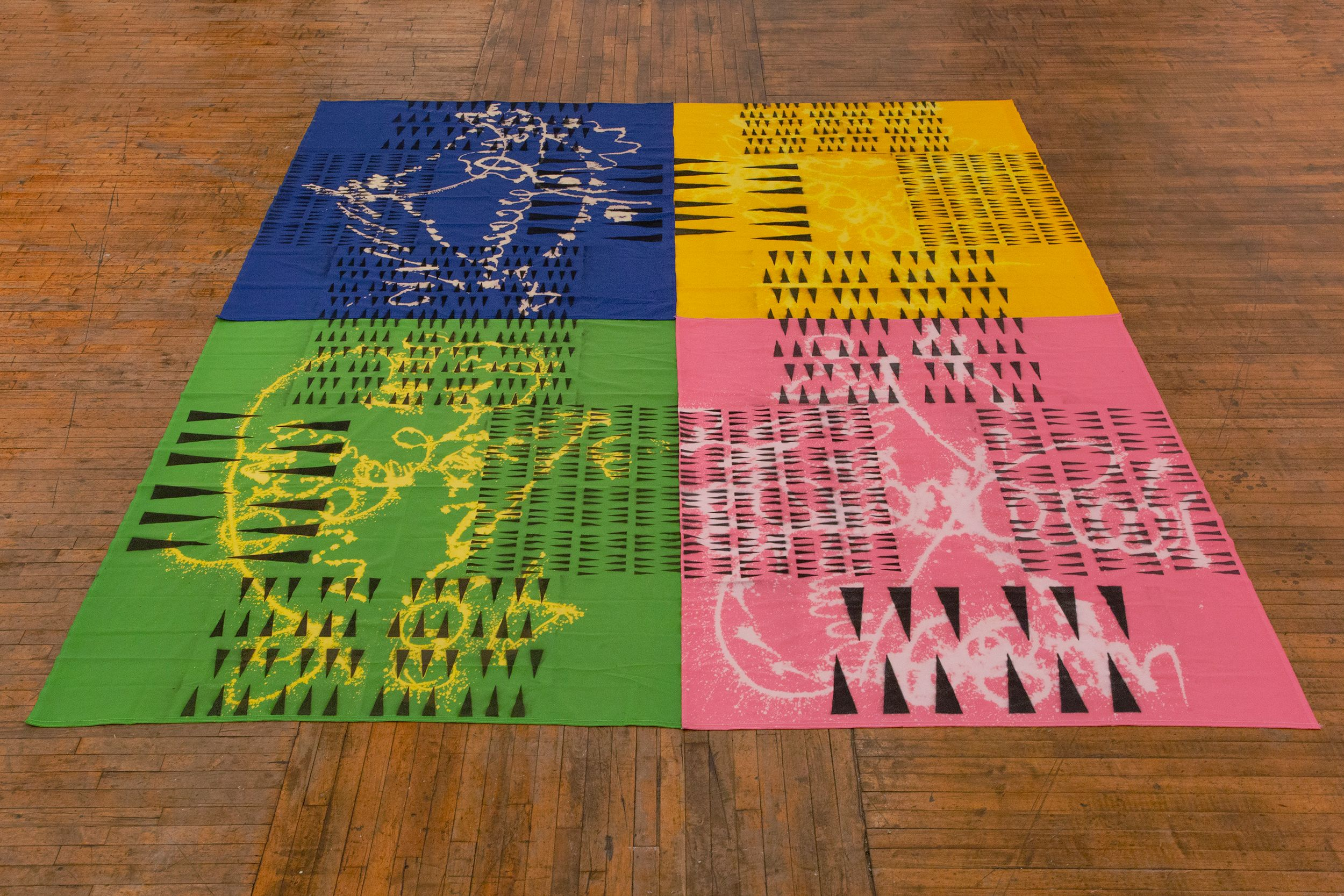 Polly Apfelbaum, Madeline Hollander, Zak Kitnick, DROP CITY, 2020 (installation view), from Downtown 2021 at La MaMa Galleria