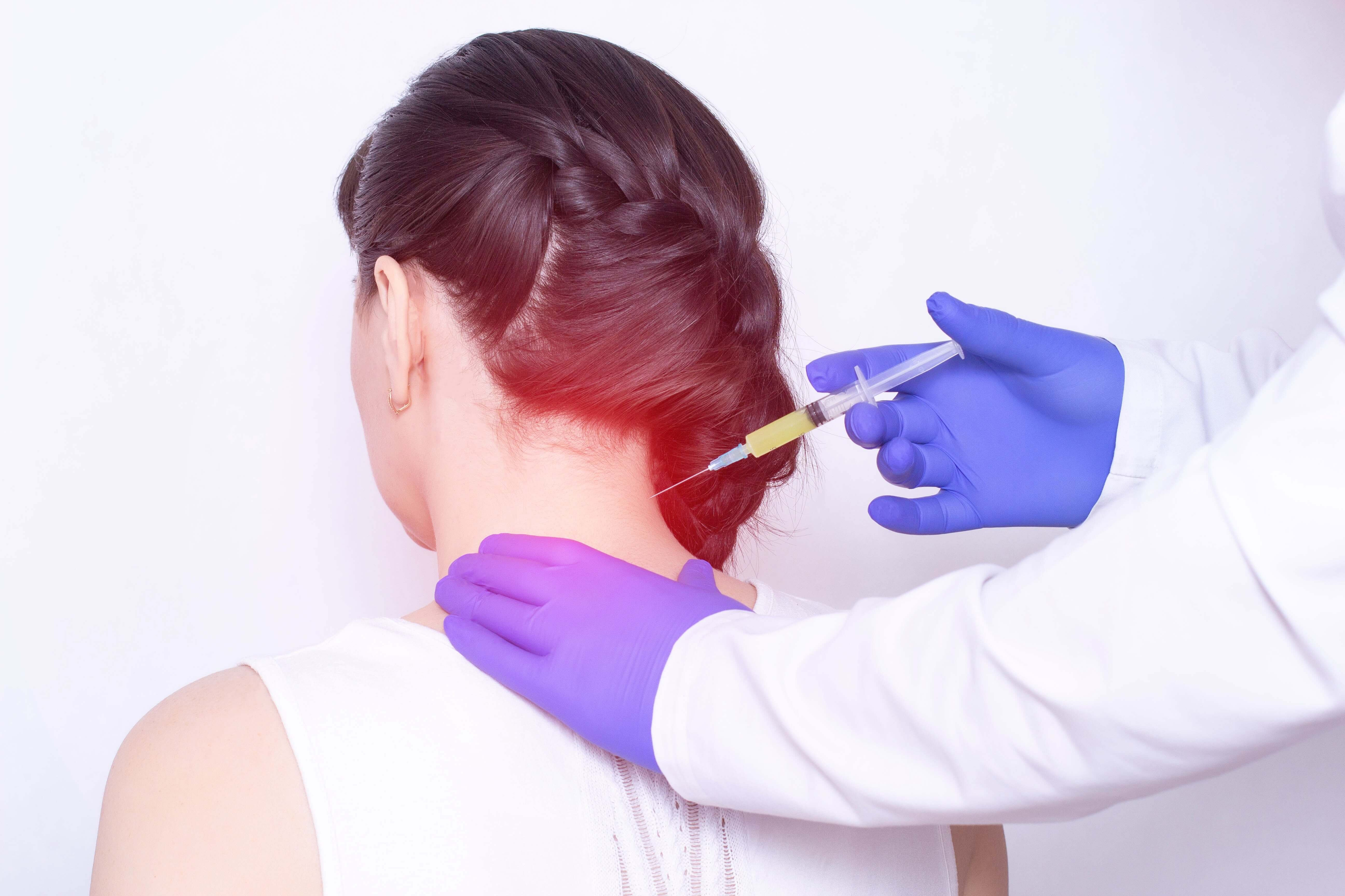 Injection in the back of the head