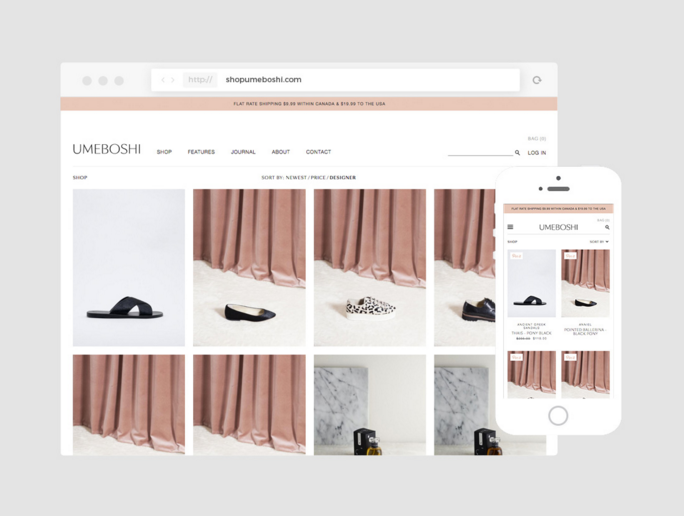 Example of a responsive eCommerce website on desktop and mobile