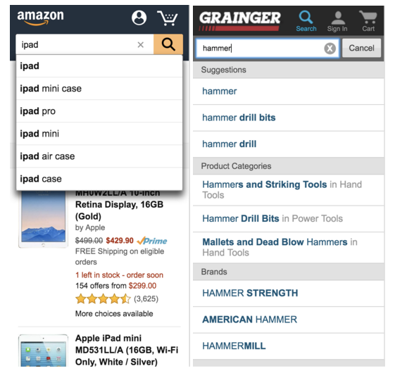 Examples of search suggestions and relevant search results