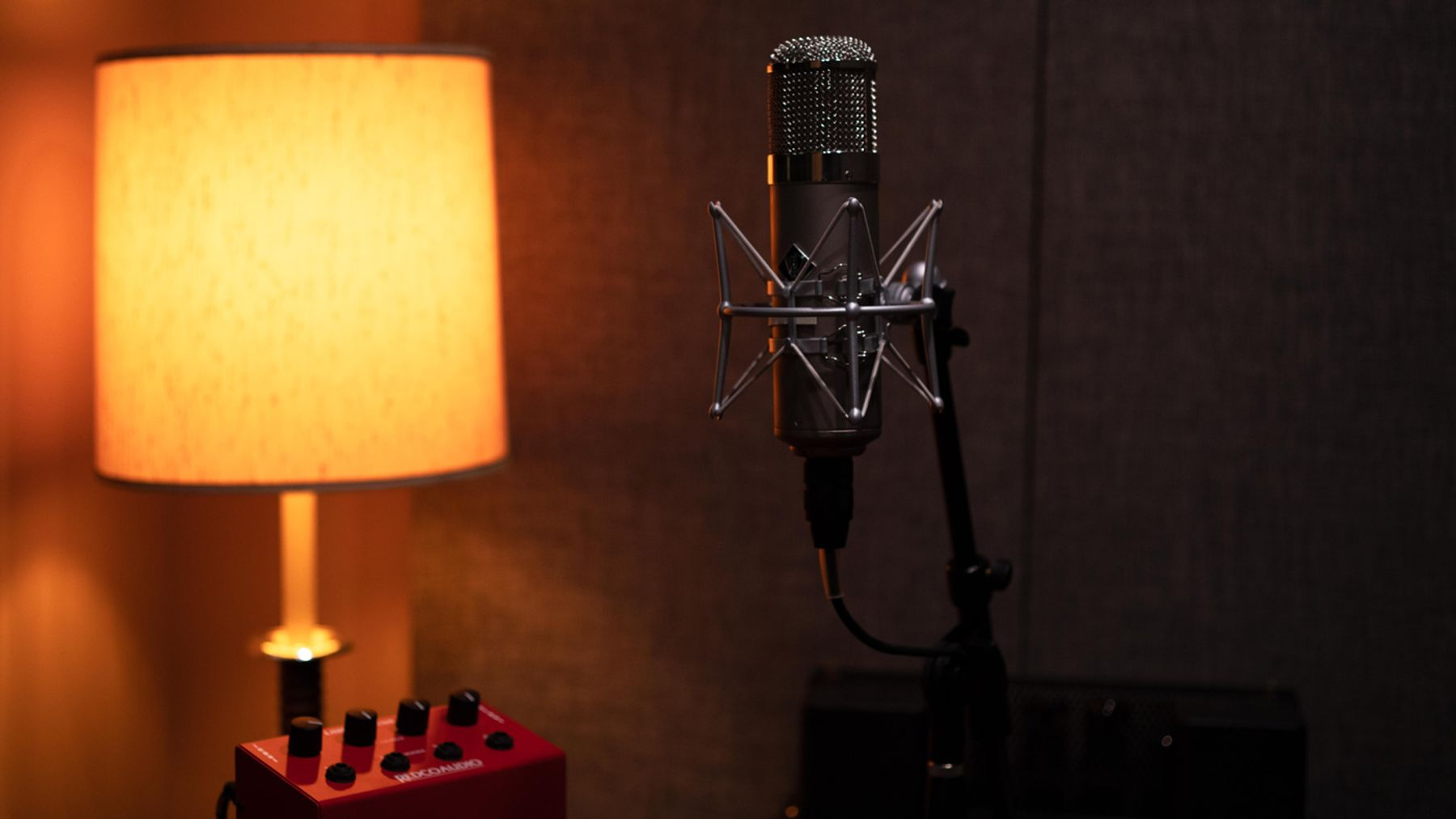 A Neumann U87 microphone on a micstand in the recording sound booth