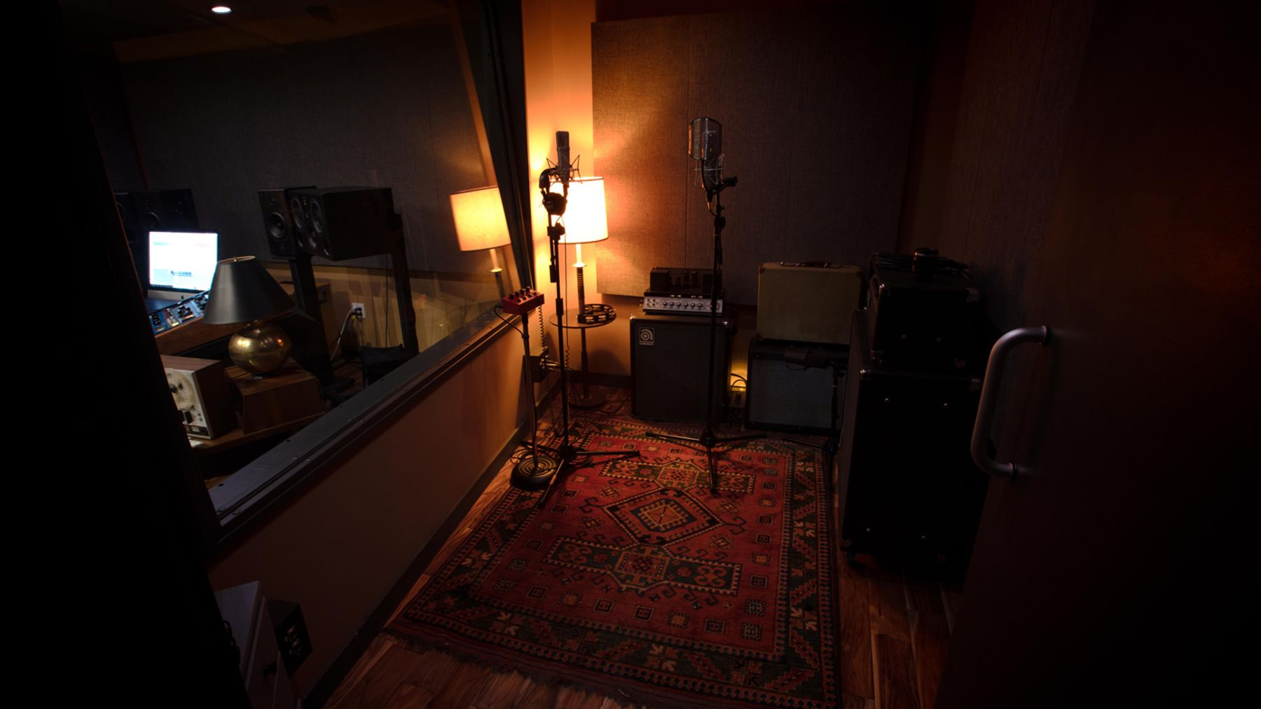 The view of the vocal booth facing east of recording studio A
