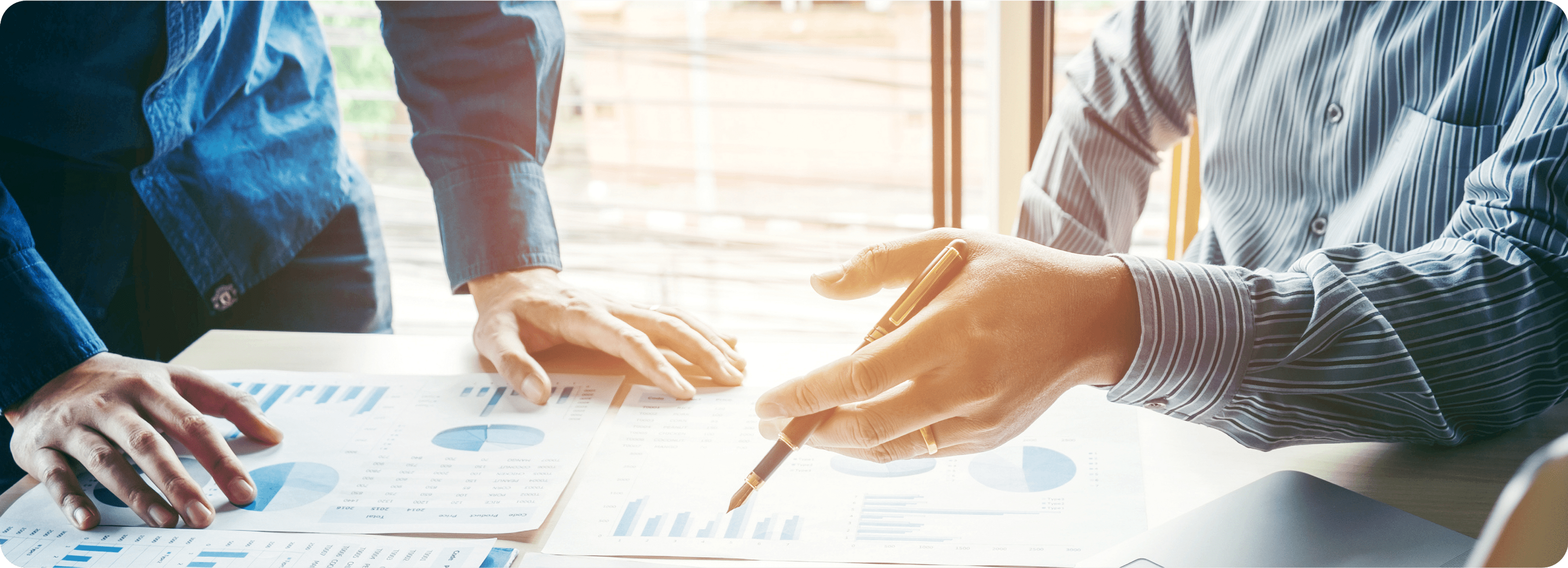 Picture of a business woman and man 's hands holding a pen and discussing  data charts