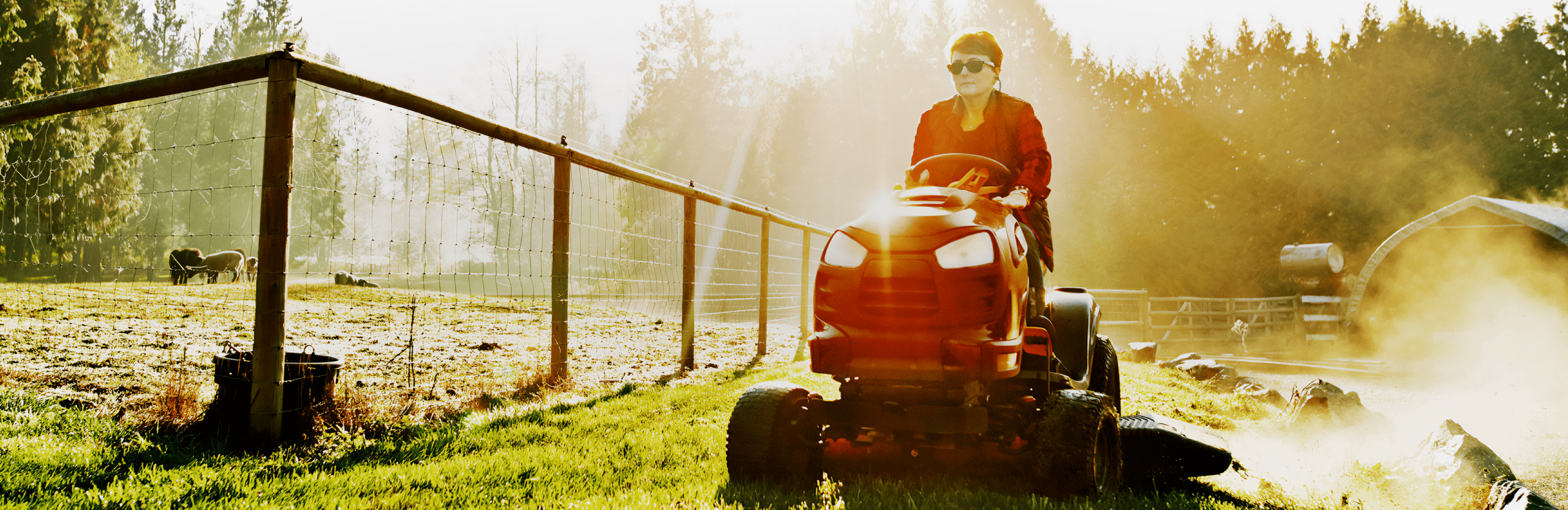 Picture of woman driving a lawnmower in farm setting