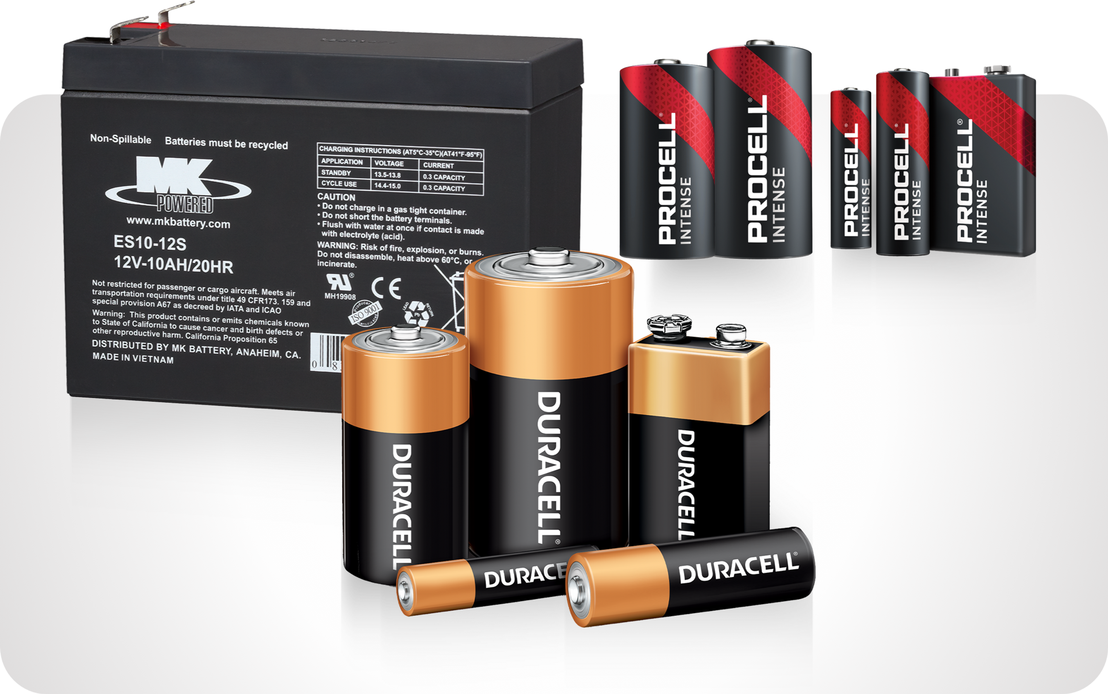 Picture of various batteries including duracell, procell and East Penn car battery