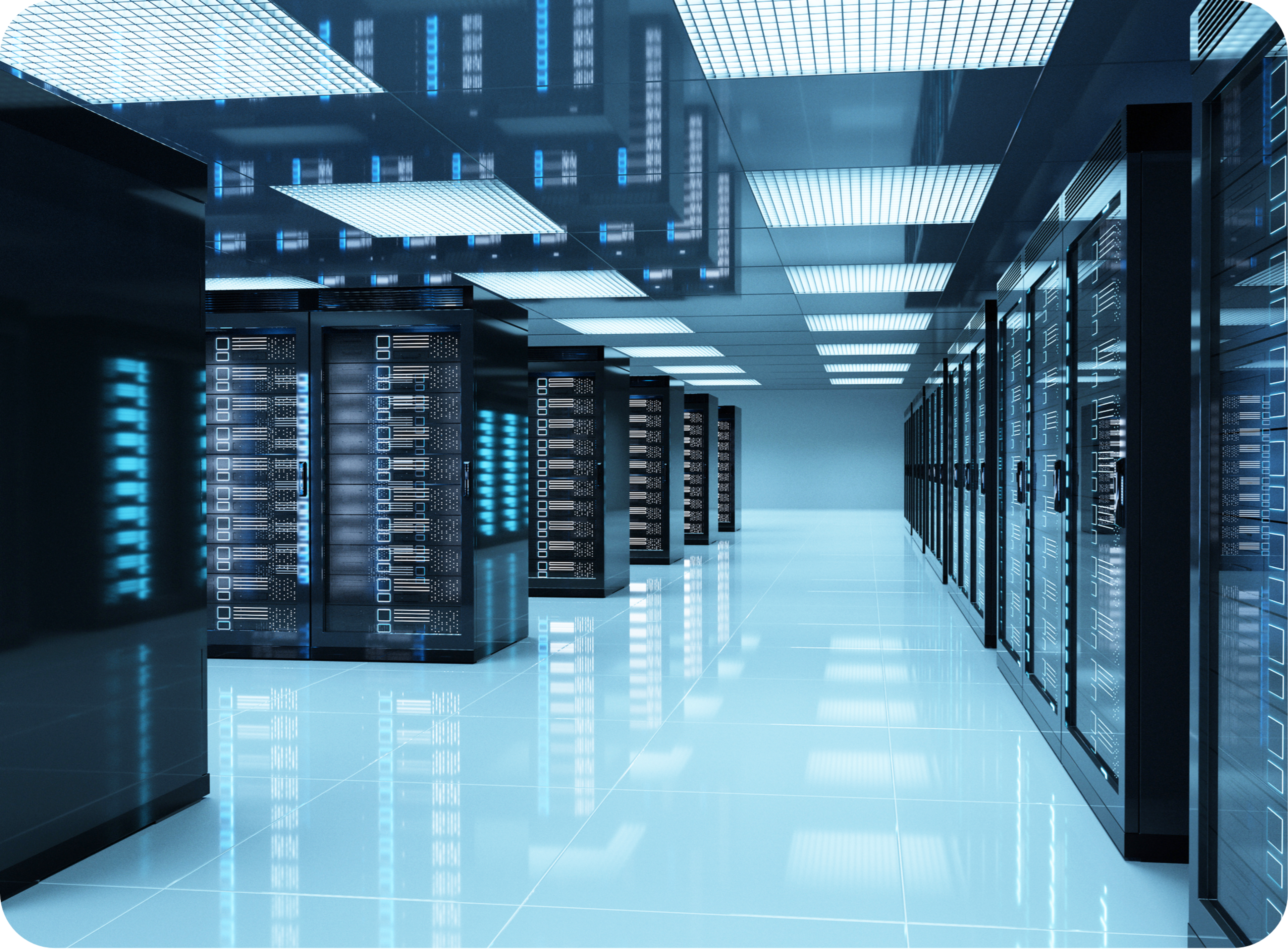 Picture of blue data center room