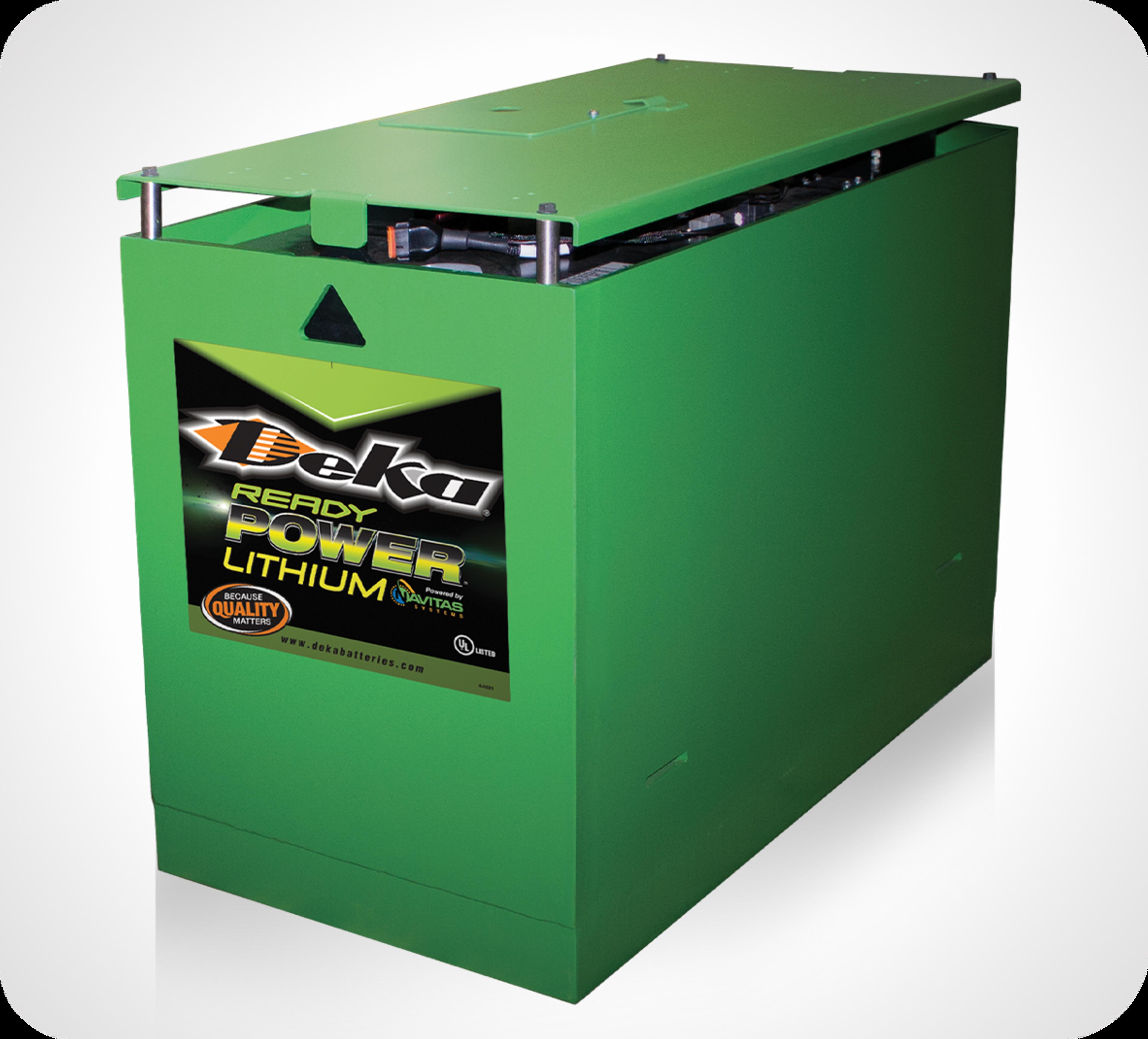 Photo de batterie verte Power Ready au lithium sur fond noir avec faisceaux larges rouges et blanches