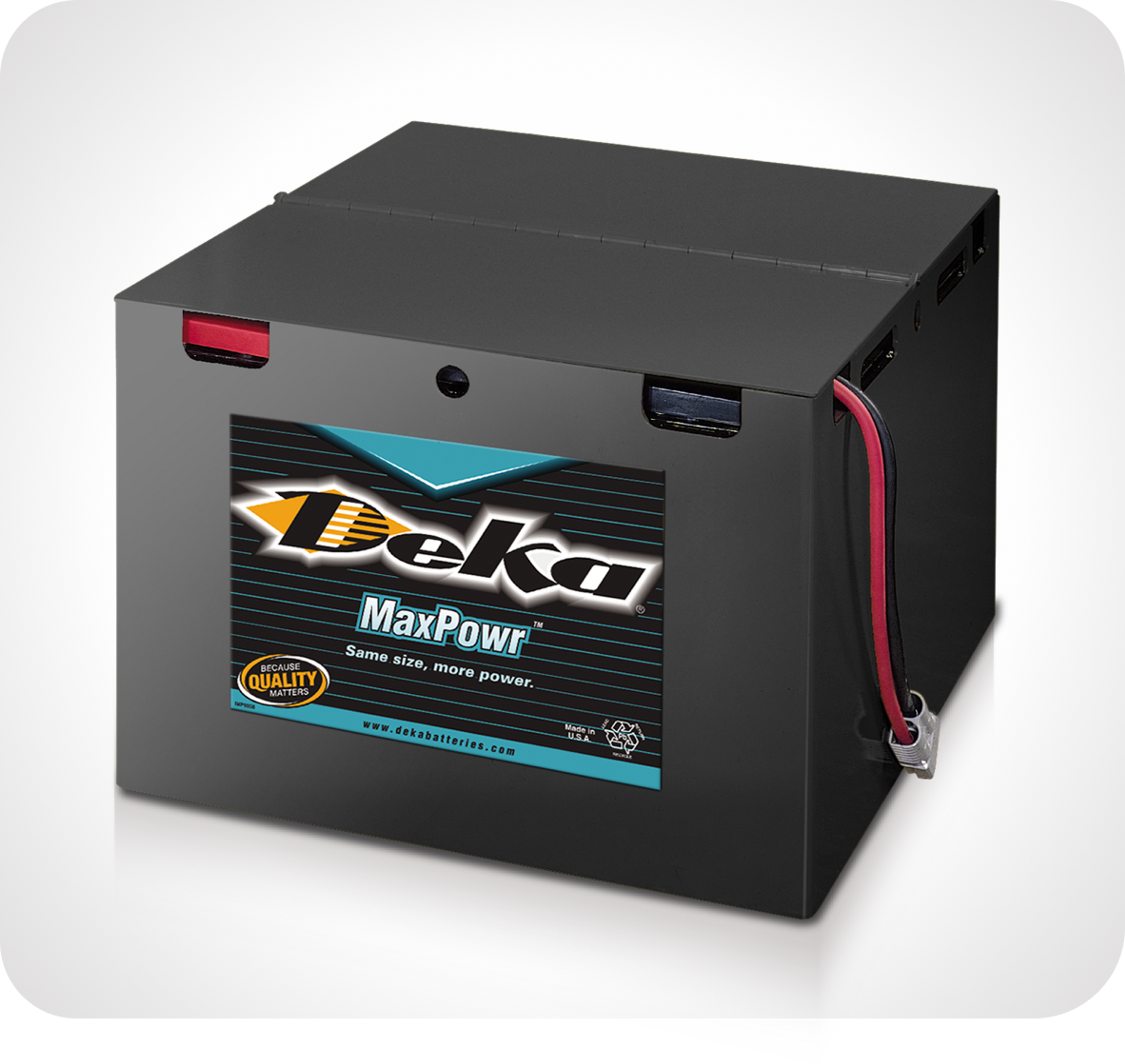 Photo de batteries supérieures de manutention Deka MaxPowr de marque East Penn