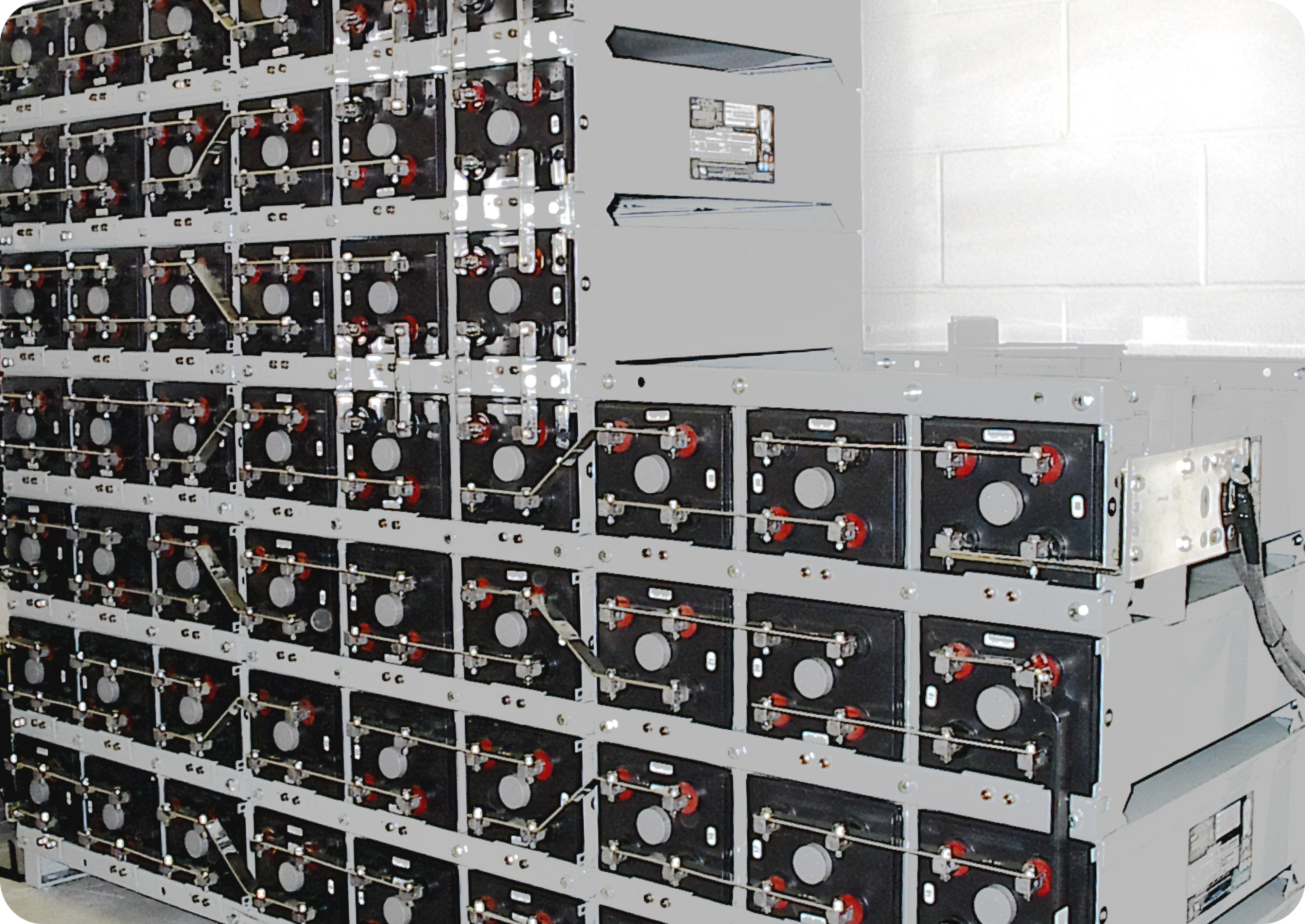 Picture of car battery room sowing 43 car batteries