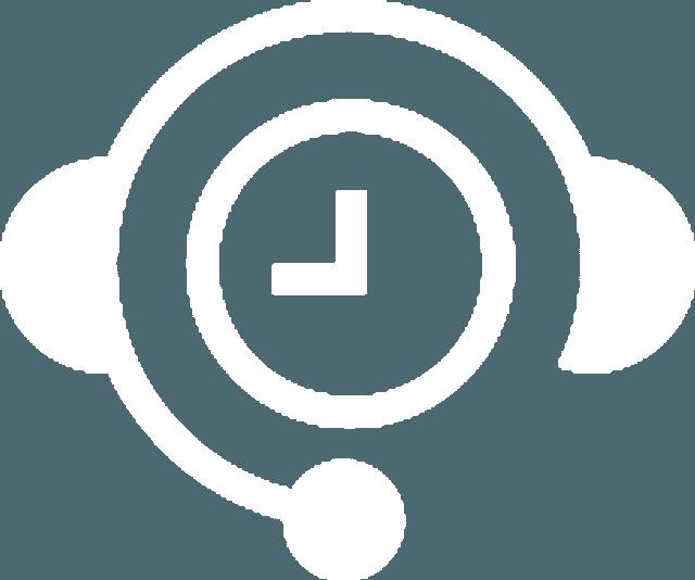 Icône de montre blanche dans une icône de casque