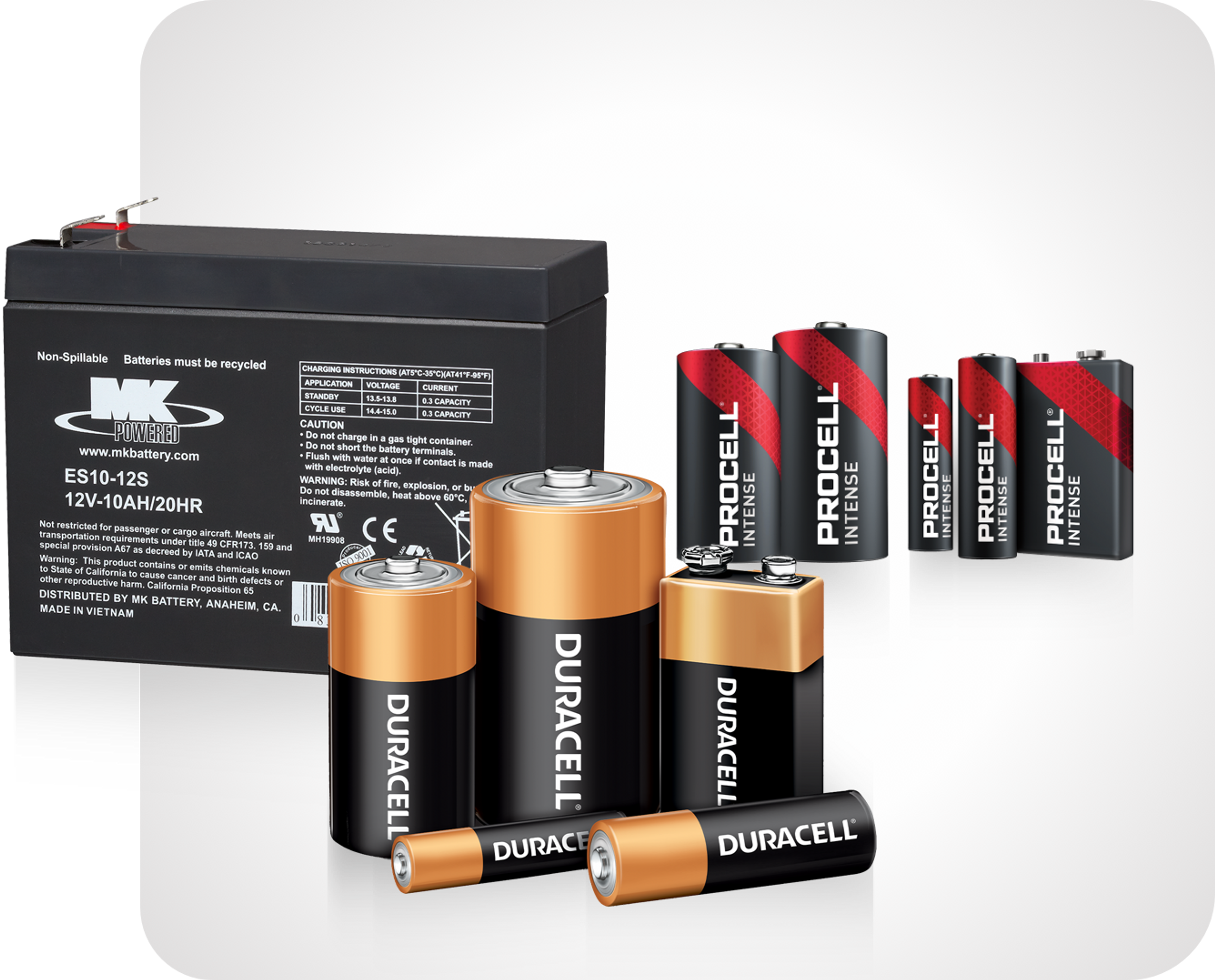 Picture of various batteriesn inclucing duracell, procell and East Penn car battery