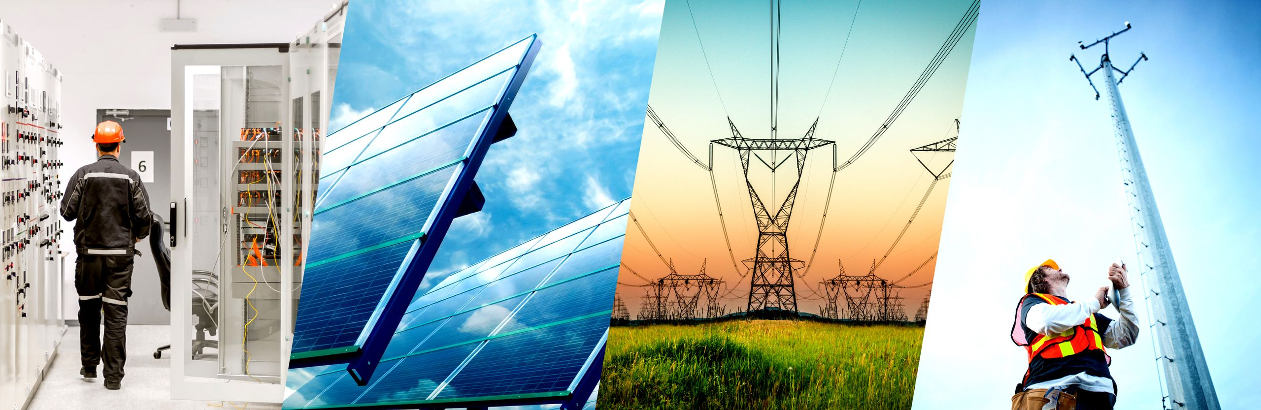 Background image divided into four panels , panel one shows an electrician  wearing an orange helmet, second panel shows a blue solar panel, third panel shows a power tower, fourth panel shows blonde man wearing yellow hard hat l holding a clipart, looking up to inspect an electric tower