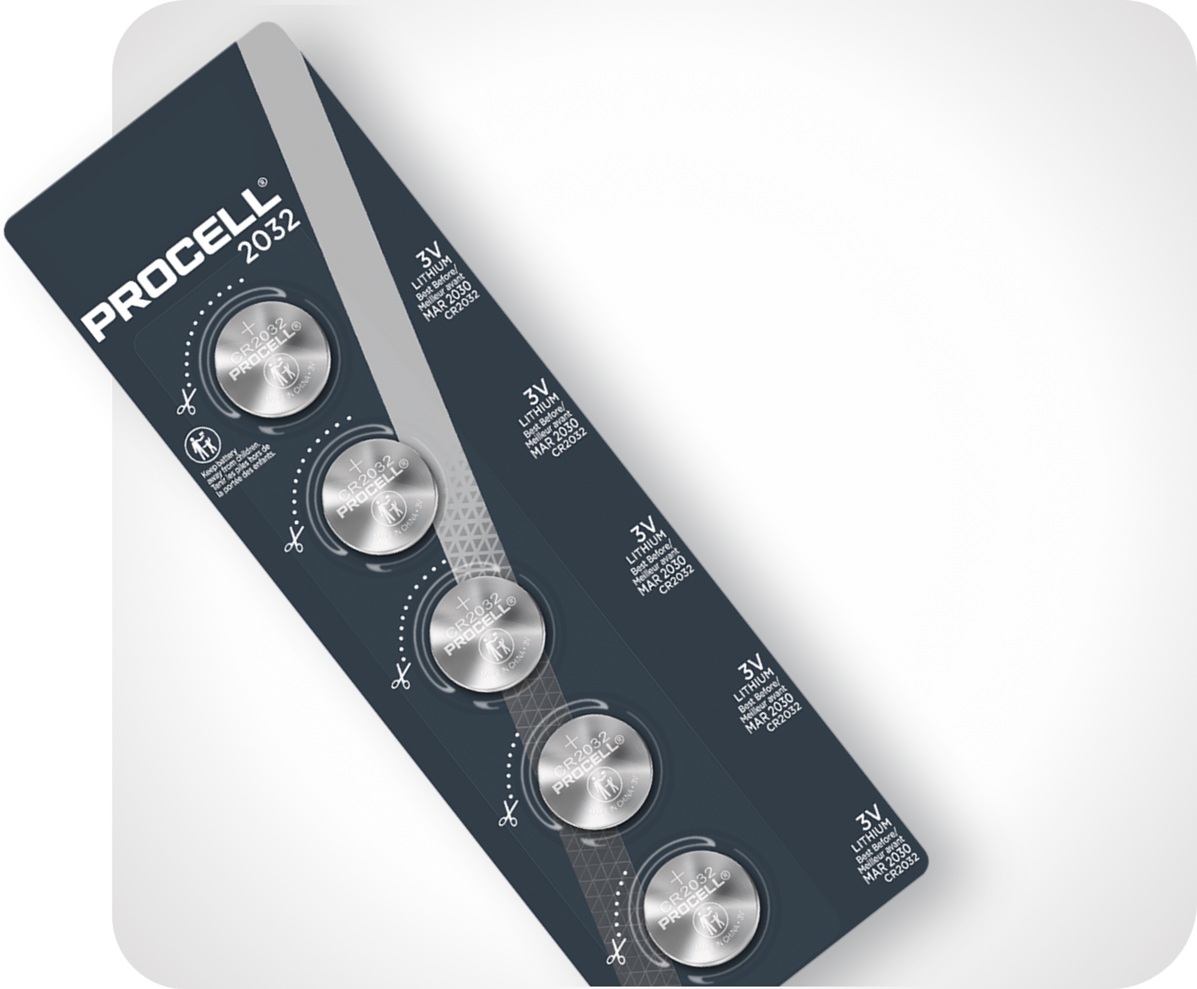 Picture of package strip with four Procell coin cell batteries