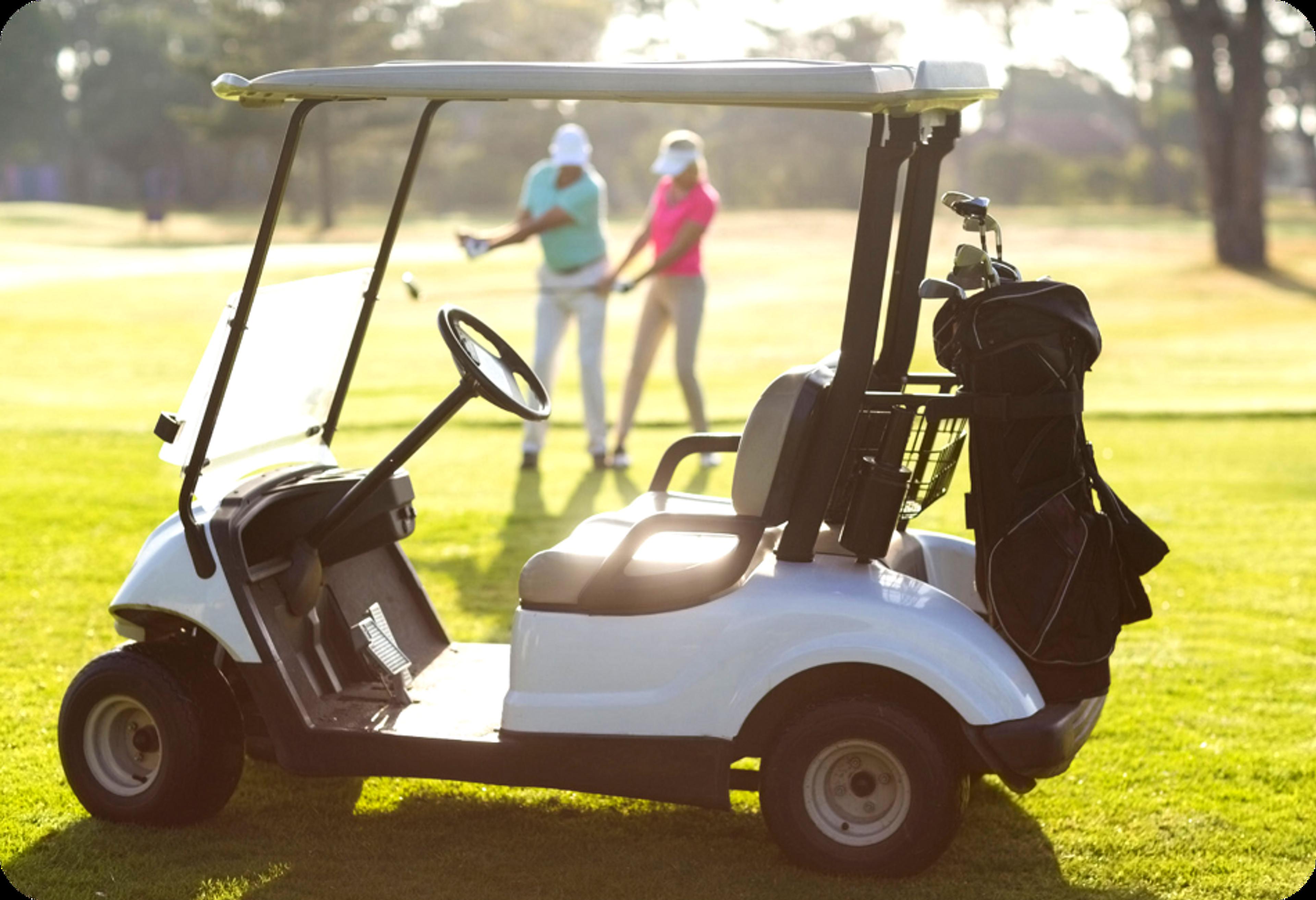 Photo d'une voiturette de golf blanche avec golfeur et golfeuse en arrière-plan