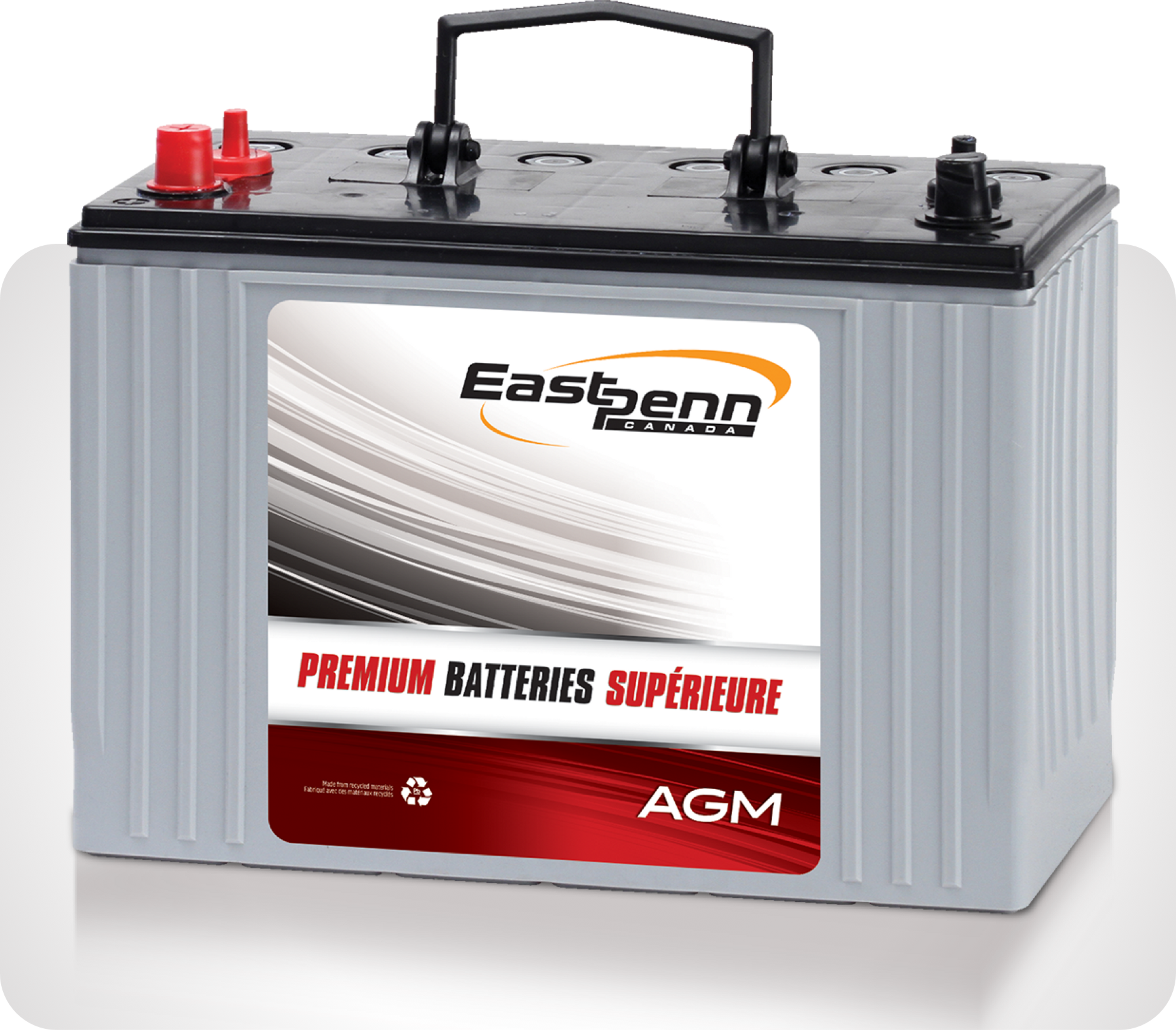 Picture of small silver single East Penn brand premium AGM battery