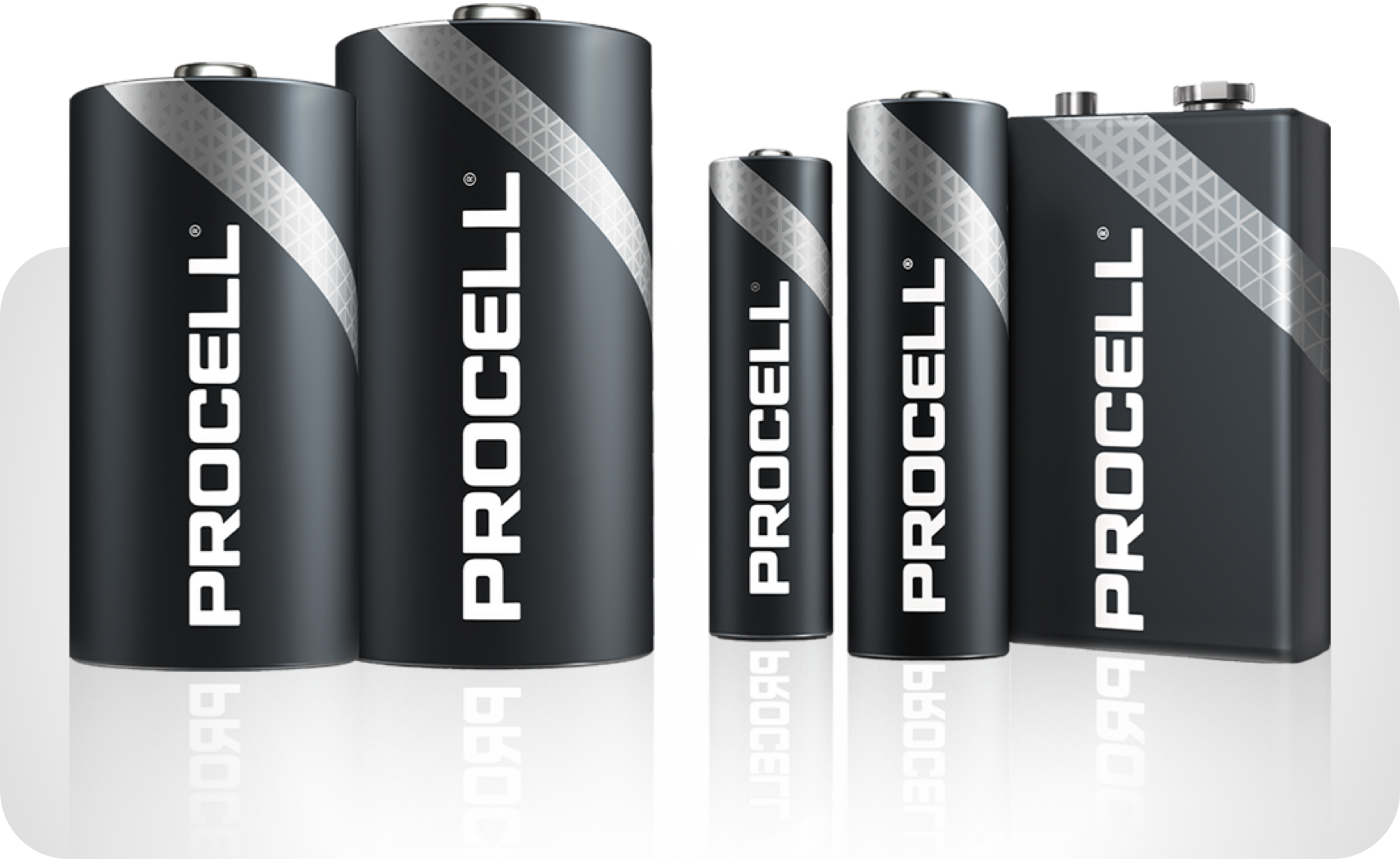 Image of various Duracell Coppertop batteries in popular sizes: AA, AAA, C, D and 9-volt.
