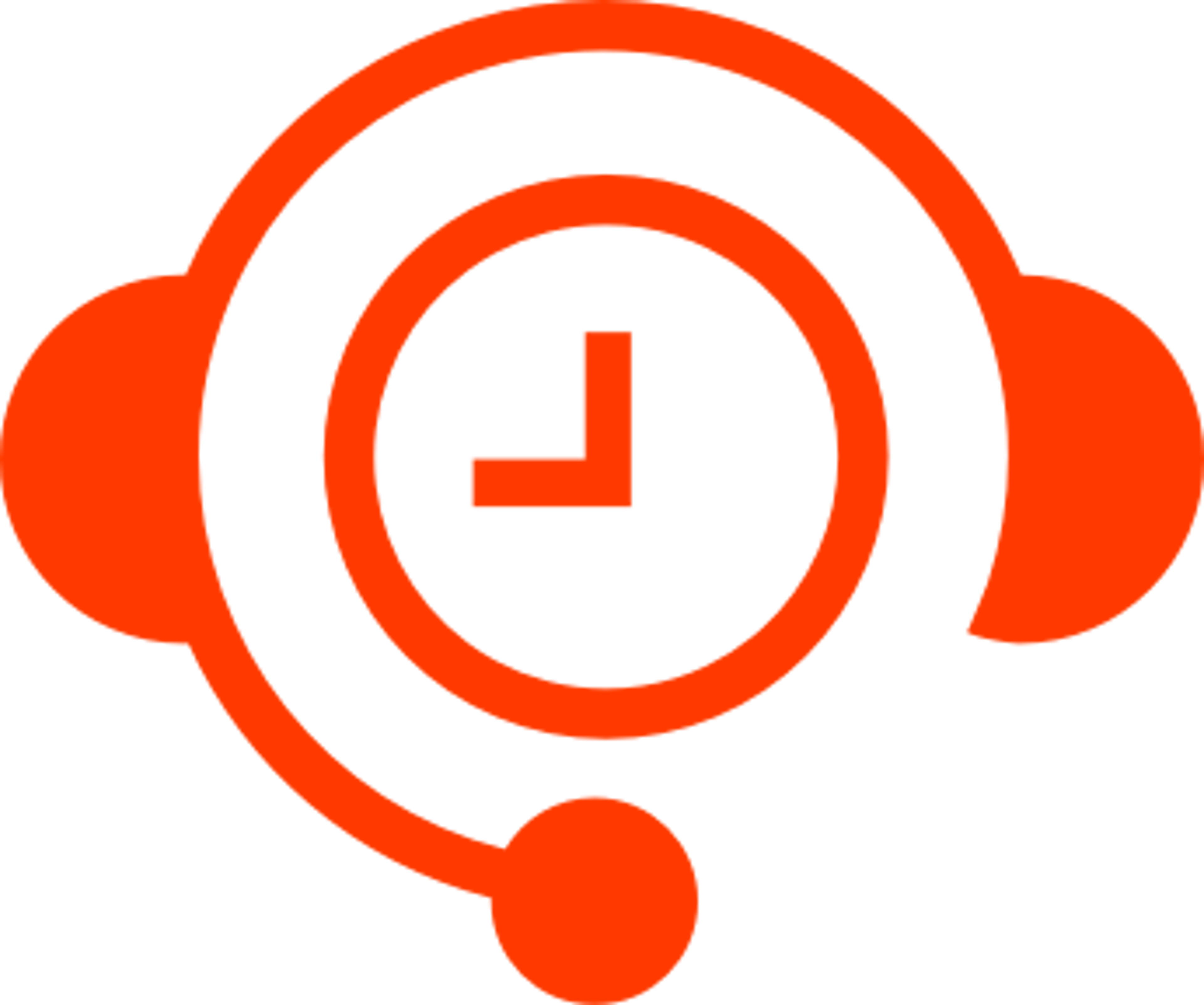 Icon of red headset with a clock inside it