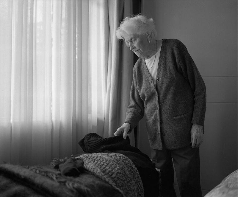 Grandmother in bedroom