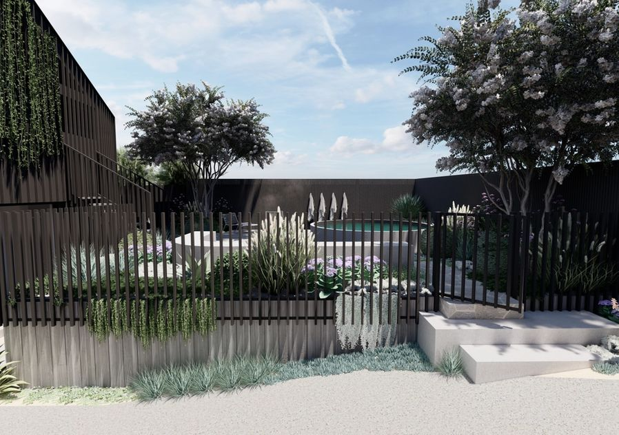 Front garden with pool and aluminium batten fence