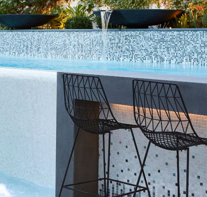 seating area next to pool