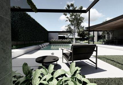 Pool area with casual seating black pergola