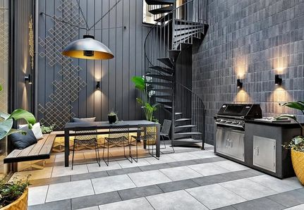 Courtyard design with table and chairs at The Block St Kilda Tess and Luke