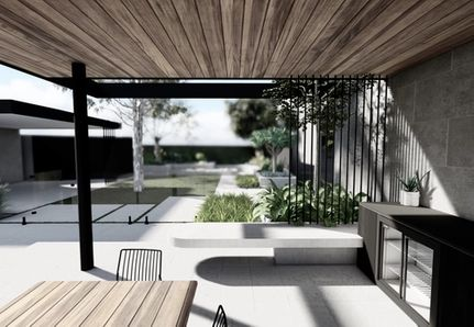 Alfresco dinging and kitchen area with cantilevered concrete seat