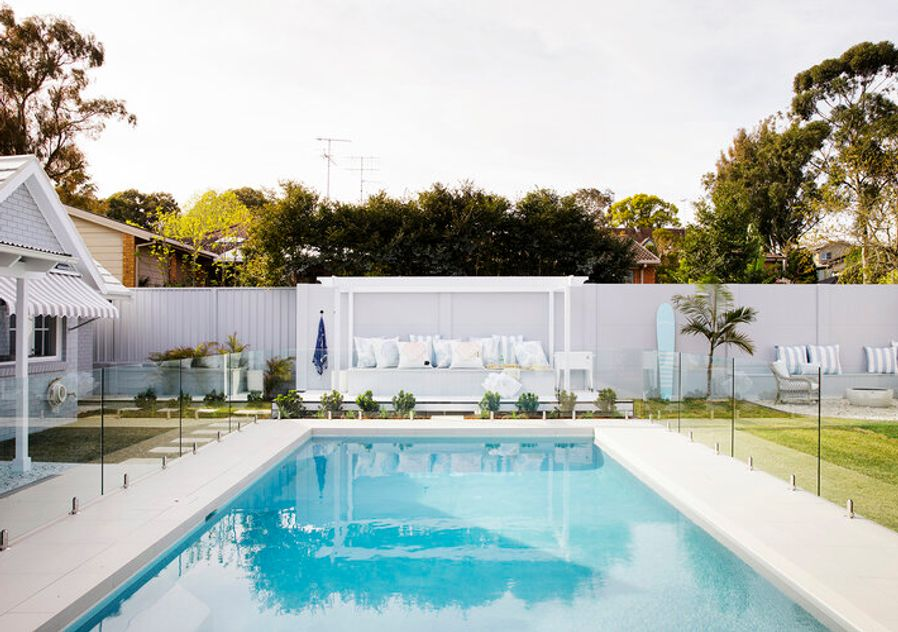 Hamptons look pool and landscaping