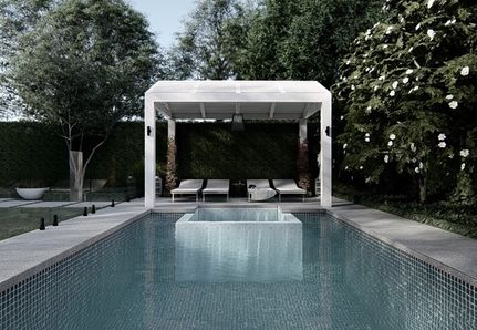 Hamptons pergola and pool chairs