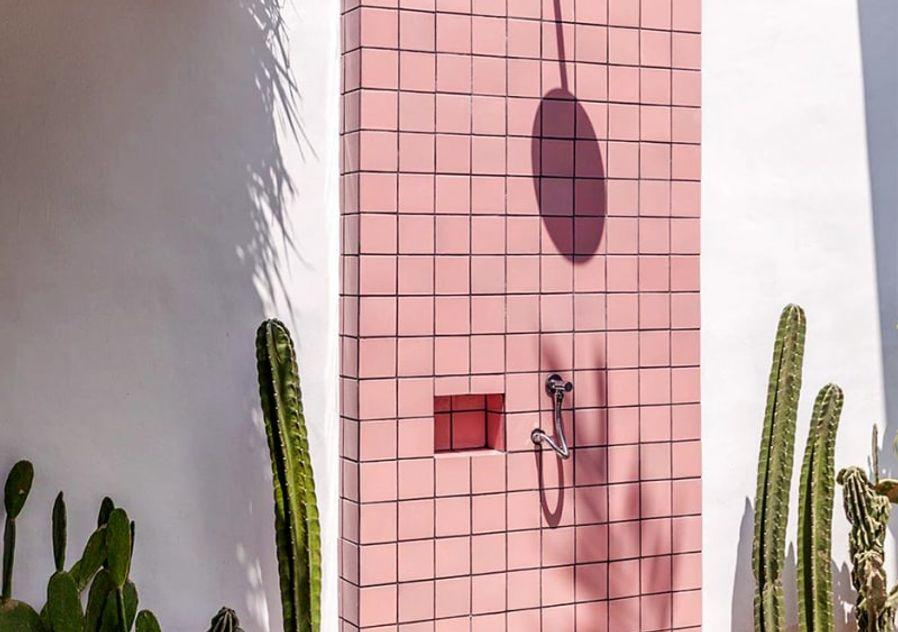 Pink tiled outdoor shower