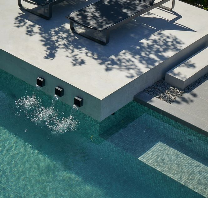 water feature and pool
