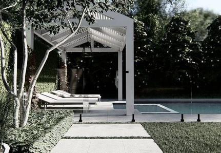 Poolside garden hampton-style pergola