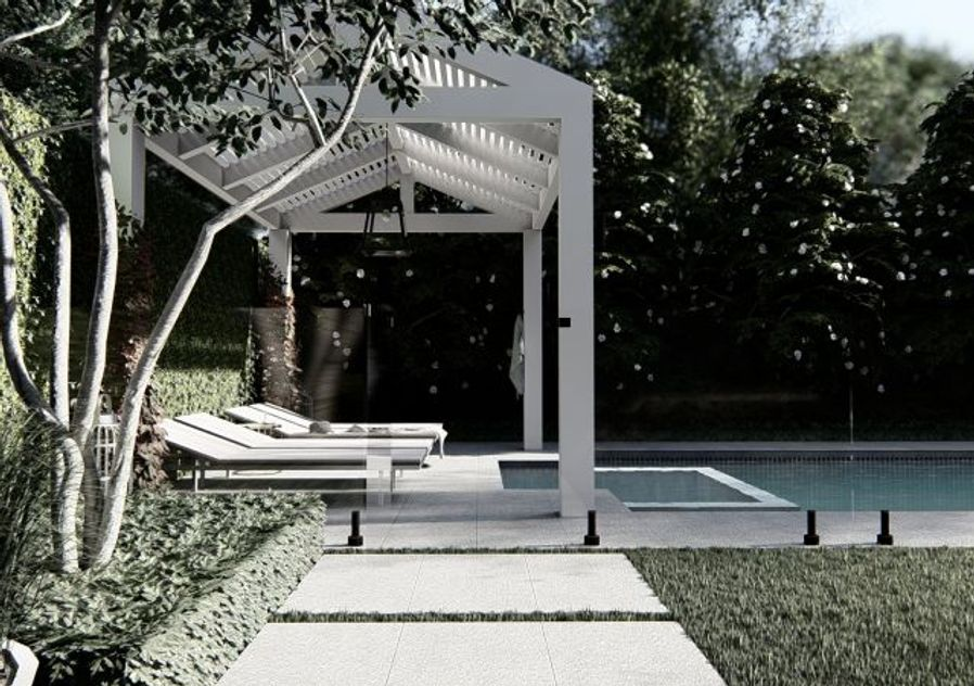 Hamptons arbour pergola near pool