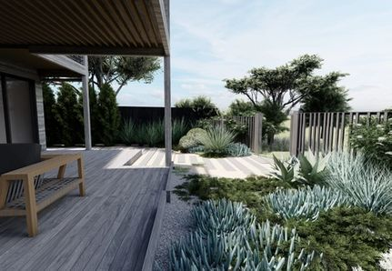 Back garden with coastal planting and deck