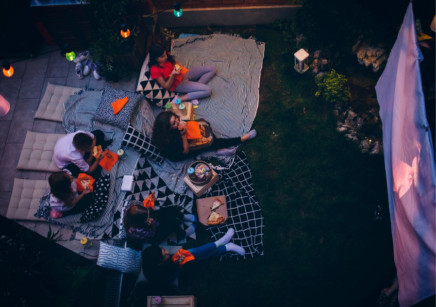 Outdoor home cinema from above