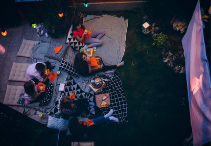 Outdoor cinema set-up at home