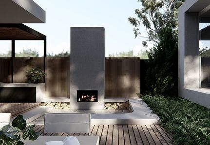 Outdoor built in fire place Landscape design by Mint Design in Williamstown, Victoria