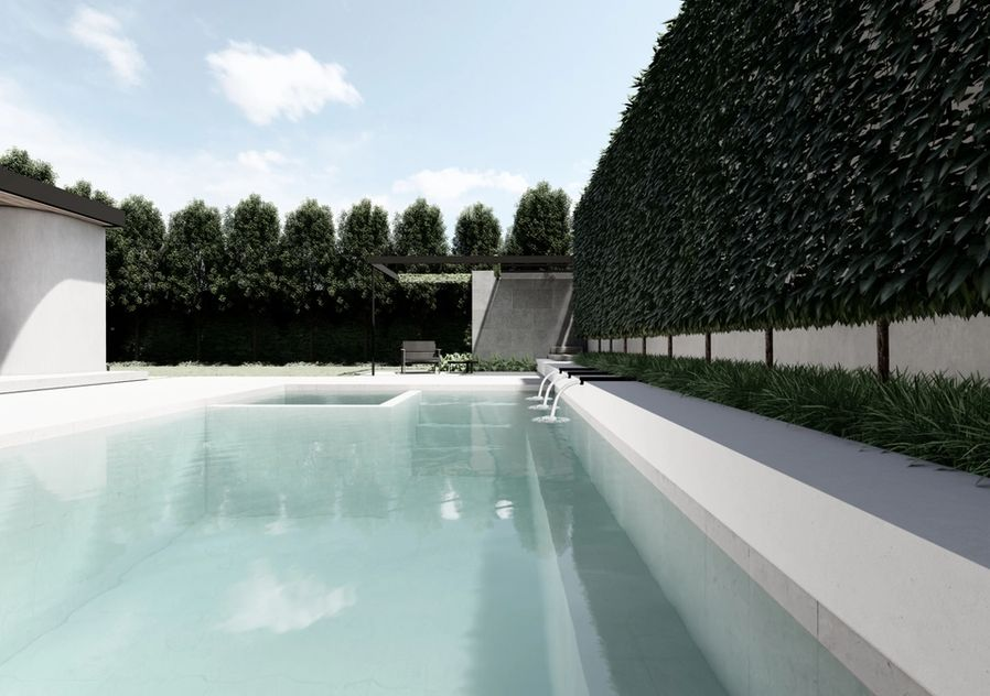 White tile pool and spa with pleached hedge and underplanting