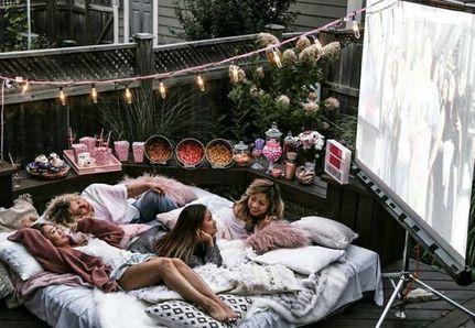 Summer girls night backyard movie