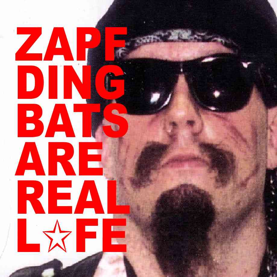 """Podcast cover. Red Text: """"ZAPF DINGBATS ARE REAL LIFE."""" Image: You can see the hate in GG Allin's eyes through his opaque sunglasses."""
