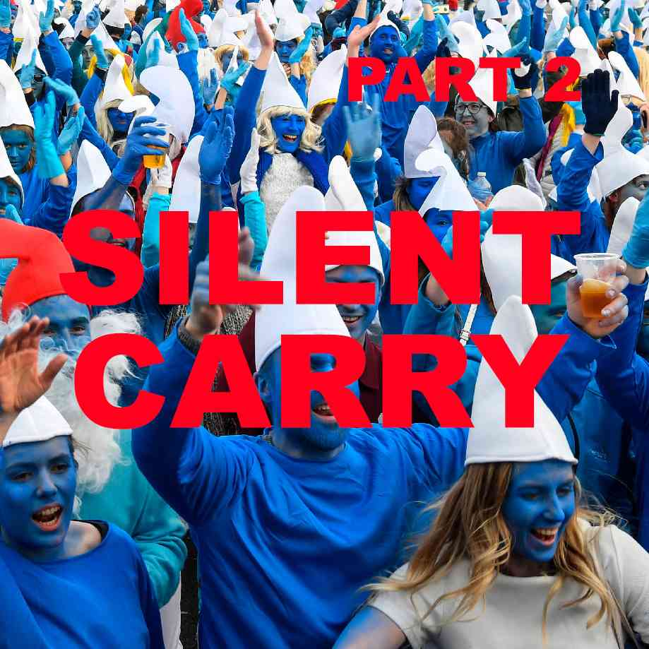 """Podcast cover. Red Text: """"SILENT CARRY."""" Image: Endless smiling people dressed like Smurfs and infecting each other with diseases."""