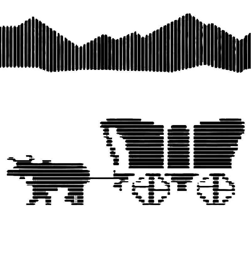 Podcast cover. Black scanlines take the shape of an oxcart from the ancient educational computer game Oregon Trail