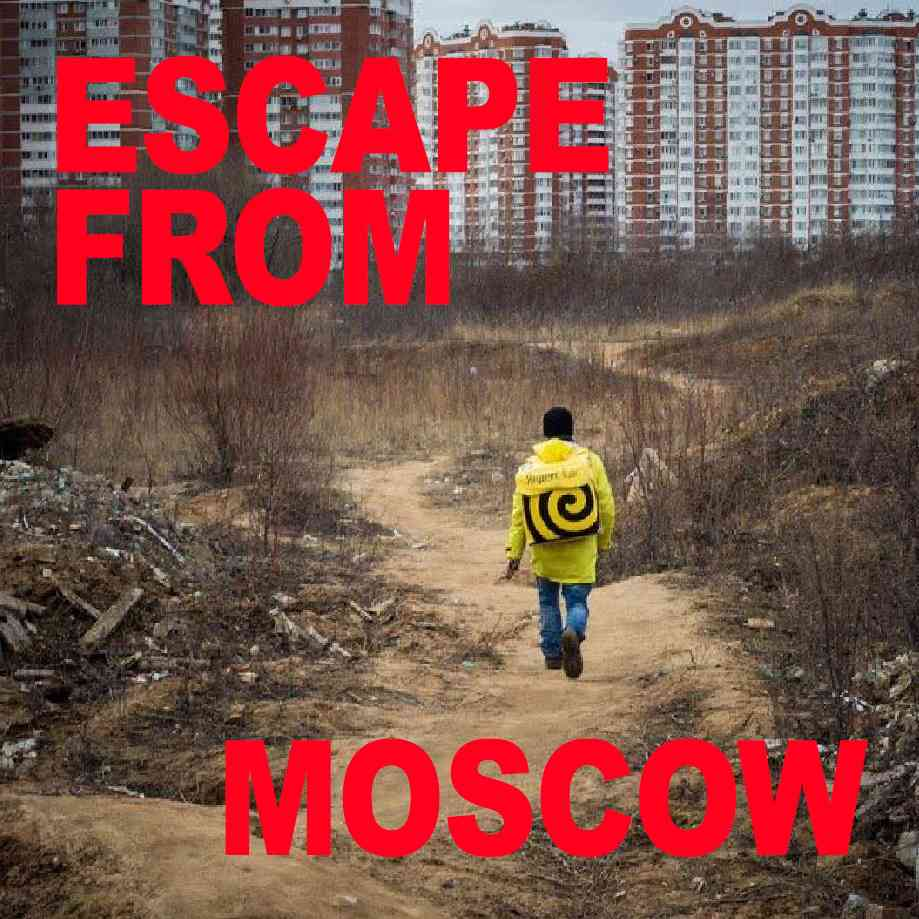 """Podcast cover. Red Text: """"ESCAPE FROM MOSCOW."""" Image: Two very sexy shirtless boys from the Discord shave each others heads in front of dystopian Moscow."""