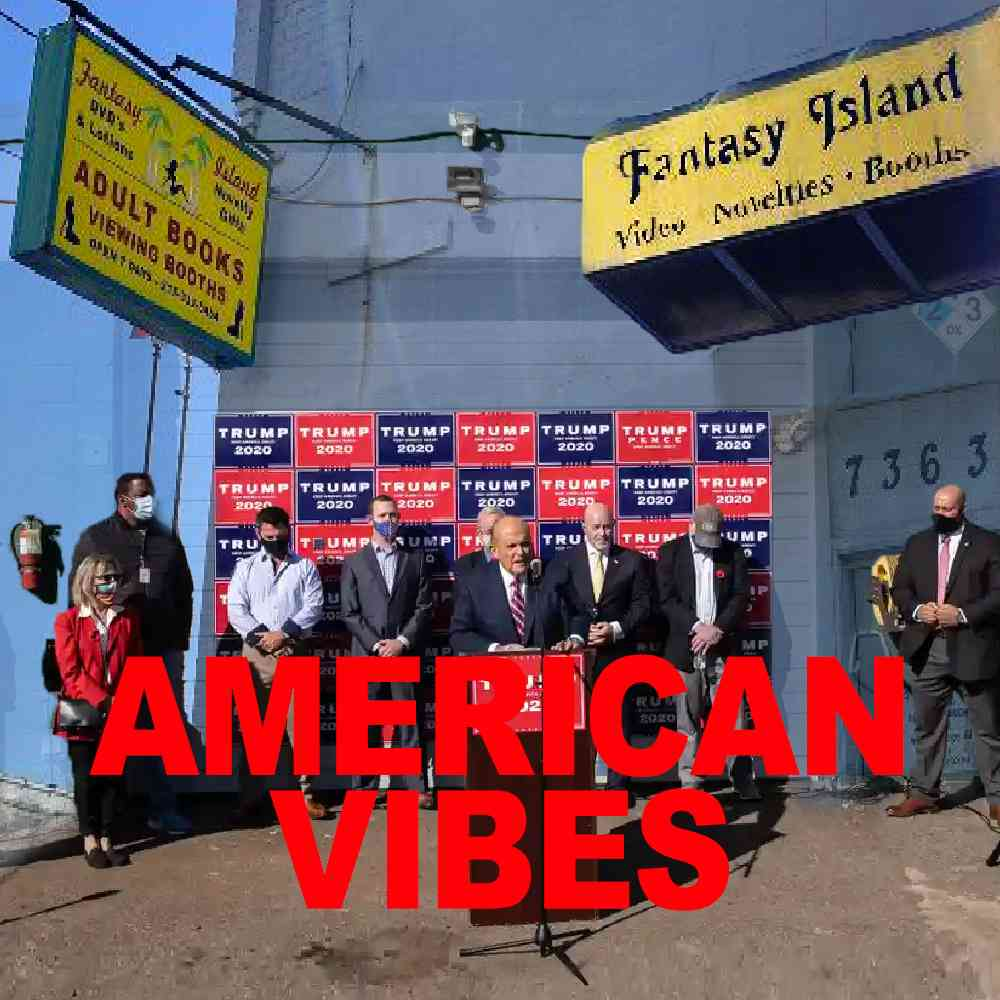 """Podcast cover . Red Text: """"AMERICAN VIBES."""" Image: Rudy Giuliani holding a press conference at a derelict adult book store."""