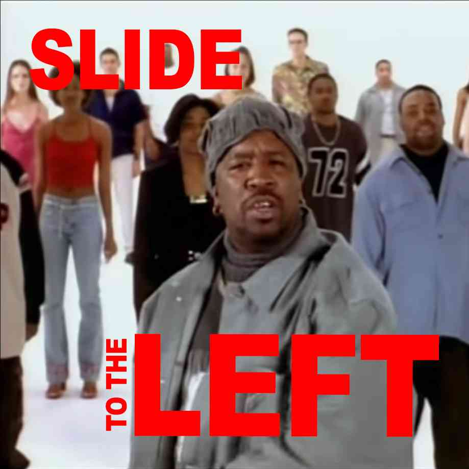 """Podcast cover. Red Text: """"SLIDE TO THE LEFT."""" Image: DJ Casper performing the """"Cha Cha Slide"""" in front of hypnotized normies."""