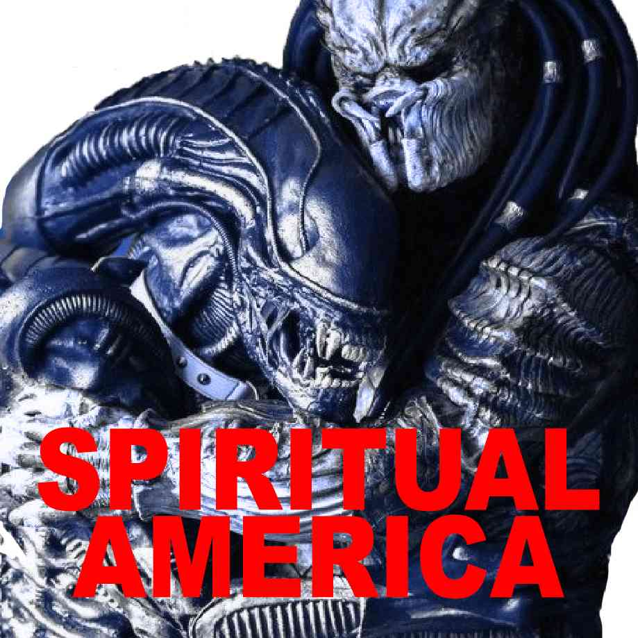 """Podcast cover. Red Text: """"SPIRITUAL AMERICA."""" Image: Alien vs Predator except they are just hugging."""