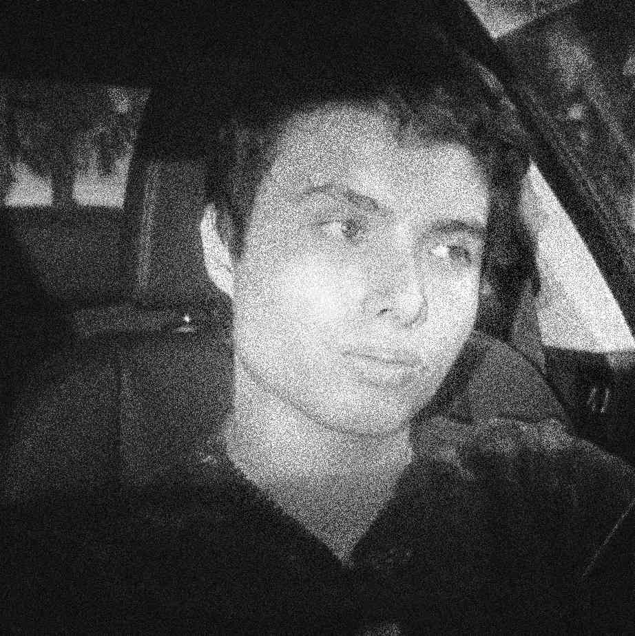 Podcast cover. A fuzzy, colorless portrait of supreme gentleman, incel, and murderer Elliot Rodger